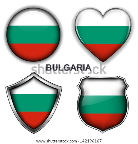 Bulgaria flag icons, vector buttons.