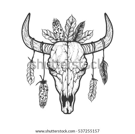 Cow skull tattoo flash - photo#14