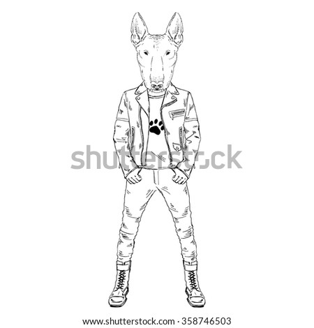 Bull Terrier Doggy Dressed Up In Punk Style Hipster Animal Furry Art Illustration