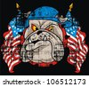 bulldog and American flag - stock vector