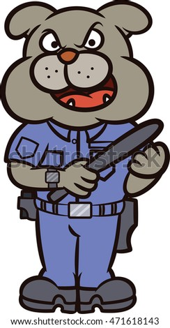 Bulldog Police Officer Cartoon Character Isolated on White