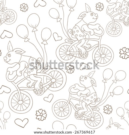 Bunny on a bike with balls. Seamless pattern.
