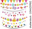 bunting and garland set - stock vector