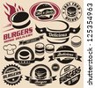 Burger icons, labels, signs, symbols and design elements. Vector collection of fast food badges. - stock vector
