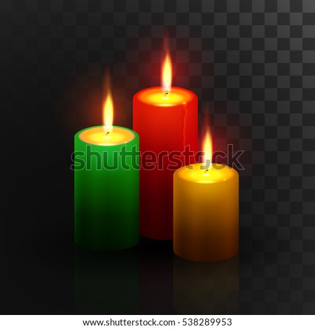 Burning red, green, gold candles with lighting on dark transparent background. Christmas decorations, xmas decorative elements. Vector illustration.