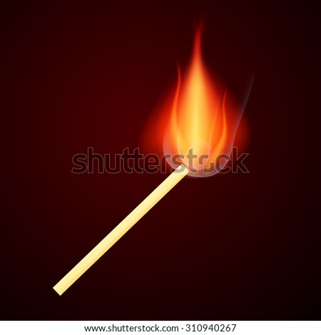 Burning Safety Match Vector Illustration