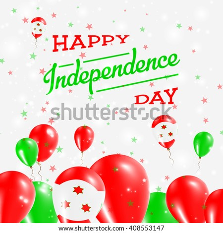Burundi Independence Day Patriotic Design. Balloons in National Colors of the Country. Happy Independence Day Vector Greeting Card.