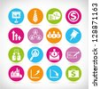 business and organization buttons, web application icon set, vector - stock vector