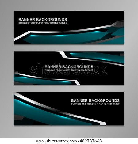 business banners abstract geometric background, vector illustration