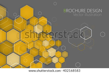 Business brochure cover design template. Vector. Yellow Background. Clip-art