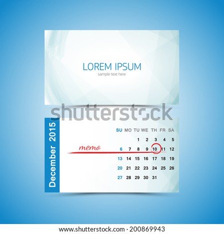 Business Card Calendar Template February Stock Vector - Business card calendar template