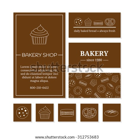 Business card templates for bakery shop or cafe. Branding elements.