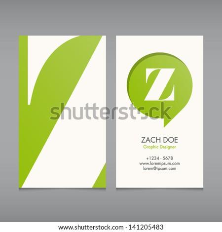 Business Card Vector Template Alphabet Letter Vector – Editable Leaf Template