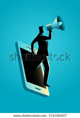 Business concept illustration of a businessman holding a megaphone coming through from smart phone. Digital marketing, communication, advertisement concept
