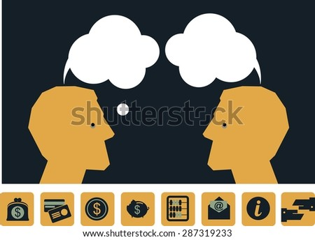 Business concept Two silhouette head human thoughts cloud bank near icons