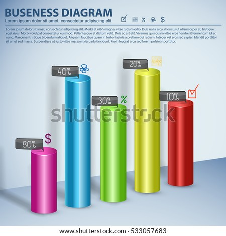 Business diagram template for presentation and infographics with 3d multicolored bars and place for text information vector illustration