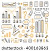 Business doodle set. Vector hand drawn sketch icons in black and orange colors.  Isolated on white background. Infographics. - stock vector