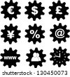business, financial tools icons (euro, usd, pound,yen, yuan, percent, e-mail, internet, teamwork(hr), time - stock