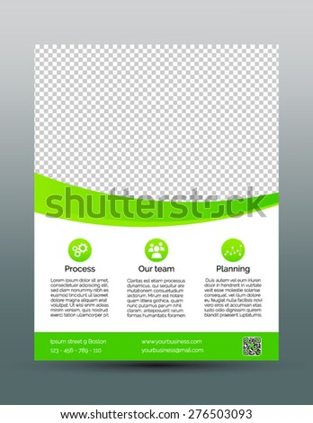 Business Flyer Template Simple Green Design Stock Vector