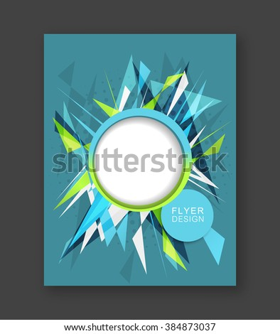 Business flyer template with abstract triangular pattern/corporate banner, brochure or cover design/round space for your content.