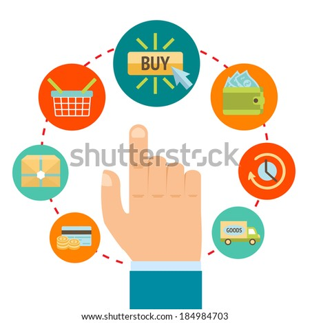Business hand touching buy button, online internet shopping concept vector illustration
