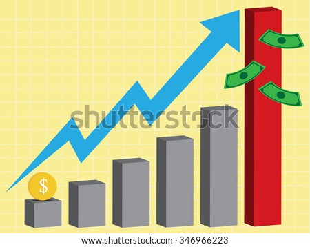 business high growth chart, vector