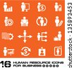 Business human resource,icon set on orange background,Vector - stock vector