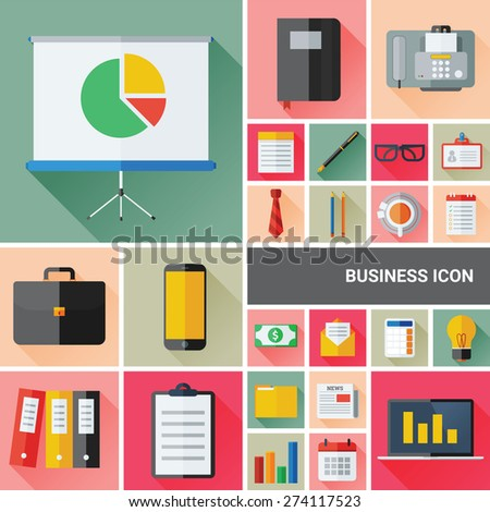 Business icon set collection with flat and long shadow design