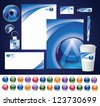 Business Identity Kit With Alphabetical Spherical Icons A through Z - stock vector