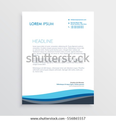 Business Letterhead Design With Blue Wave