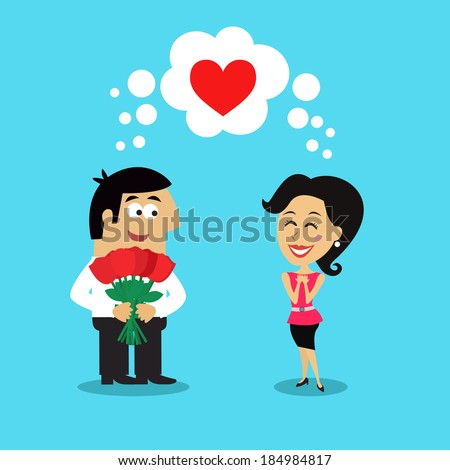 stock vector business life man employee giving girl flowers heart love scene concept vector illustration 184984817 - Advantages Of Dating Services