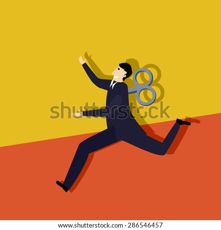 Business man clockwork run, conceptual corporate graphic