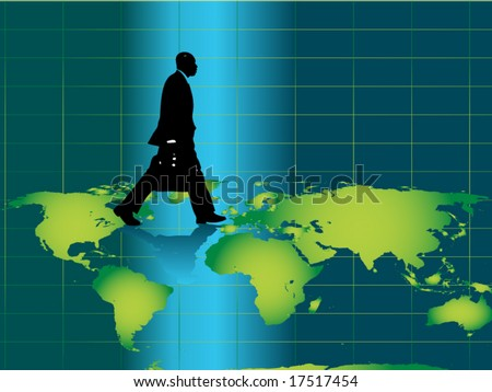 Business man silhouette with briefcase. Use as concept for global business,world traveler, business travel etc.