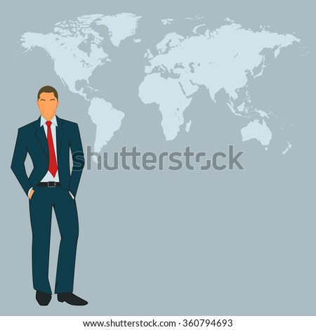 Business man with world map in background