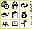 business management, allocation icon set - stock vector