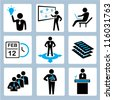 business management icon set, office worker - stock photo