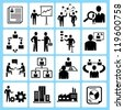business management, organization development icon set - stock vector