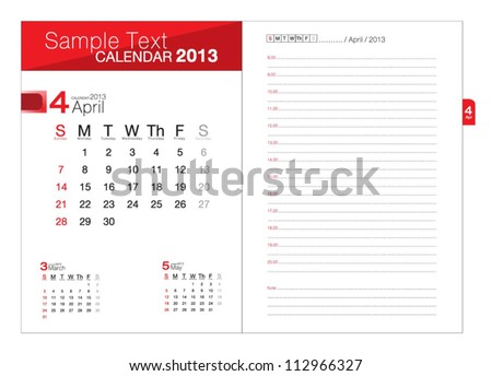 Business notebook with calendar for April 2013