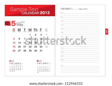 Business notebook with calendar for May 2013