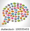 Business people faces inside speech balloon icons - stock photo