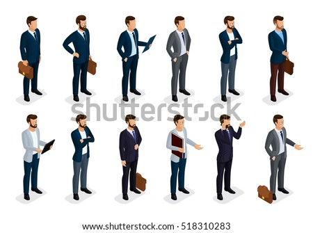 Business people isometric set of men in suits isolated on a white background, beard styling stylish hairstyle mustache office. Qualitative study. Vector illustration