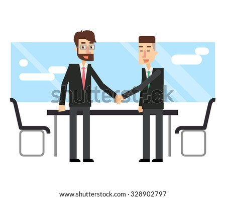 Business people make a deal. Partnership. Flat design.