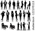 Business people silhouettes isolated on white background - Vector illustration - stock vector