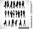 Business people silhouettes vector - stock vector