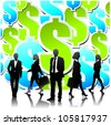 Business people team with dollar sign background.Vector - stock photo