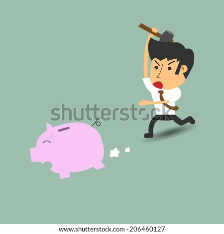 business person chasing a piggy bank with a hammer
