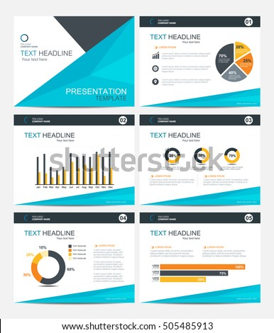 Business Presentation Template Set. Powerpoint Layout Design Backgrounds
