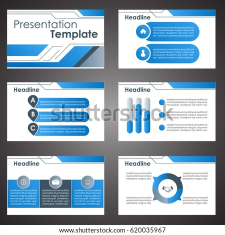 Vector Blue Business Blue Presentation Template Stock Vector