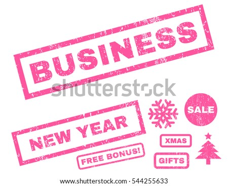 Business rubber seal stamp watermark with bonus design elements for Christmas and New Year sales. Tag inside rectangular shape with grunge design and scratched texture. Vector pink emblems.