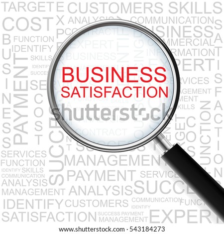 Business Satisfaction. Magnifying glass over seamless background with different association terms.